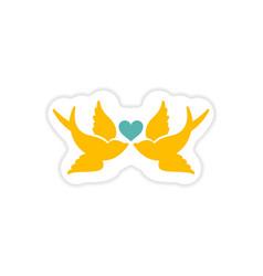Paper sticker on white background birds heart vector