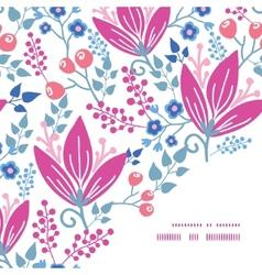 Pink flowers frame corner pattern vector