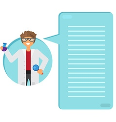 Scientist learning substance in flask vector image