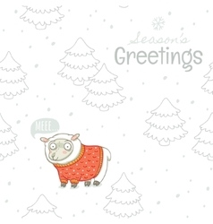Seasons greetings winter card with sheep in vector