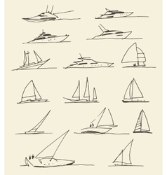 Set of hand drawn boats vector