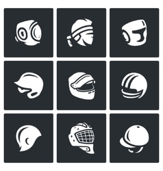 Set of Sports hat cap and headband Icons vector image vector image