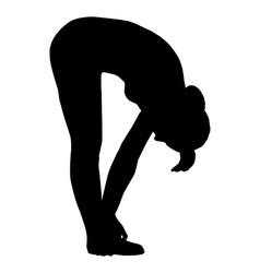 Silhouette of woman doing yoga vector image