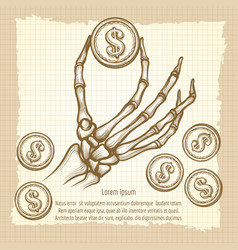 skeleton hand with coin vintage poster vector image vector image