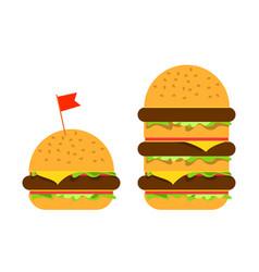 Small burger and big beefburger vector