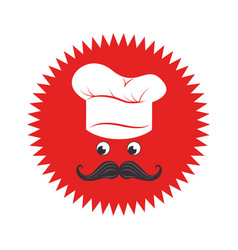 Stamp with face chef and hat vector