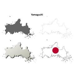 Yamaguchi blank outline map set vector