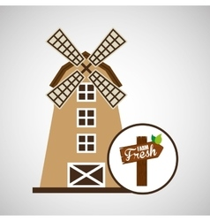 Windmill and sign icon vector
