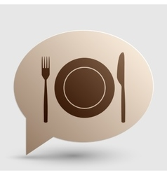 Fork tape and knife sign brown gradient icon on vector
