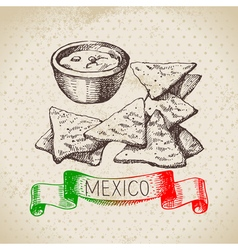 Mexican traditional food background with nachos vector
