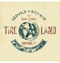 Garage service vintage tee design graphics Tire vector image
