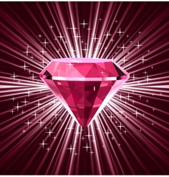 Red diamond on bright background vector image