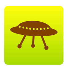 ufo simple sign brown icon at green vector image