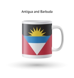 Antigua and barbuda flag souvenir mug on white vector