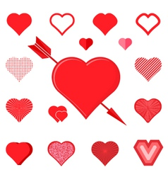 Set of red hearts silhouette icons vector