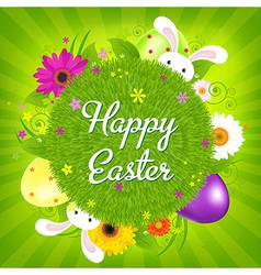 Colorful Happy Easter Card vector image
