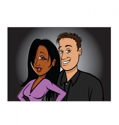 interracial couple vector image