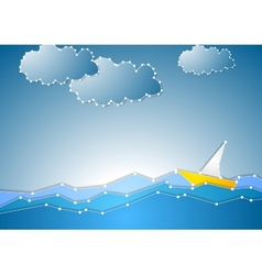 Concept schematic sea view background vector
