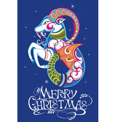 Christmas background with decorative goat vector