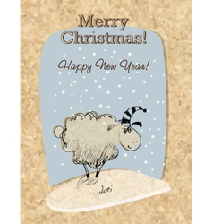 Cardboard christmas card with sheep vector