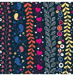 Cute hearts birds flowers floral pattern vector