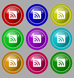 Rss feed icon sign symbol on nine round colourful vector