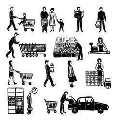 People in supermarket vector
