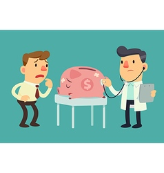 Business man and sick piggy bank vector