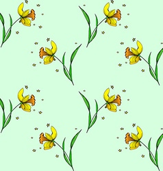 Seamless daffodil pattern vector