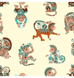 seamless pattern with decorative monkey animal vector image
