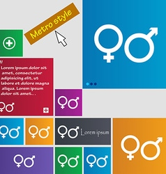 Male and female icon sign buttons modern interface vector