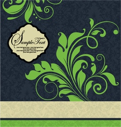 Vintage green floral wedding invitation card vector