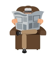 Man reading newspaper sitting on chair icon vector