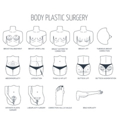 Set of line body plastic surgery icons flat vector
