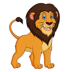 Adorable lion cartoon on white background vector image vector image