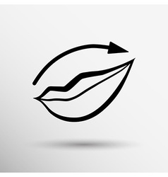 Applying lipstick using lip concealer brush vector image