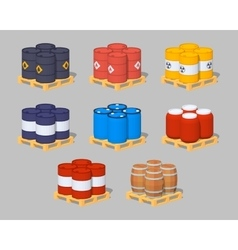 Barrels on the pallets vector image