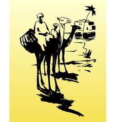 Bedouins on camels in the desert vector