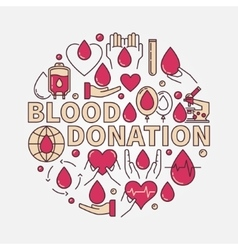 Blood donation red flat vector