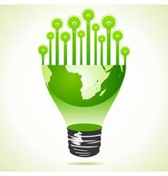 Bulbs on half earth bulb vector image