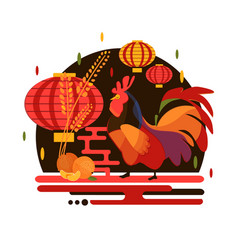chinese new year 2017 rooster concept vector image vector image