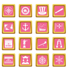 columbus day icons pink vector image vector image