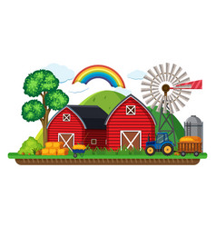 Farm scene with tractor and hay vector