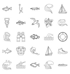 fishery icons set outline style vector image vector image