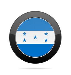 Flag of honduras shiny black round button vector