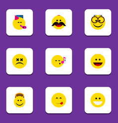 Flat icon gesture set of cross-eyed face cheerful vector