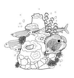 Graphic aquarium fish with coral reef vector