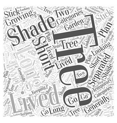 Growing trees for shade word cloud concept vector