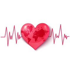 Heart pulse map vector