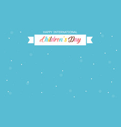 International childrens day style card vector